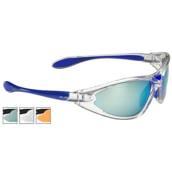 Swiss Eye occhiali da sole Constance - lenti fumo BW Revo + arancioni + trasparenti / montatura in Crystal Blue