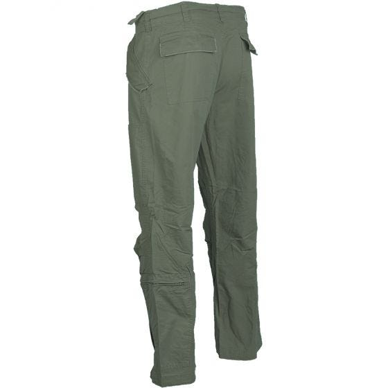 Mil-Tec pantaloni pilota in cotone popeline prelavato in verde oliva