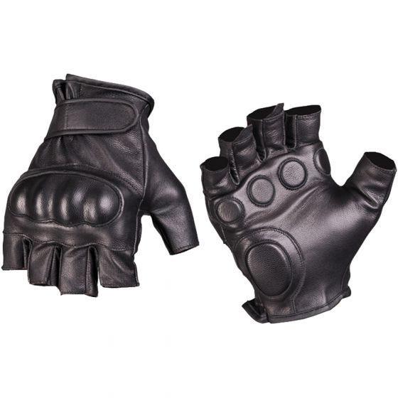 Mil-Tec guanti tattici senza dita in pelle in nero