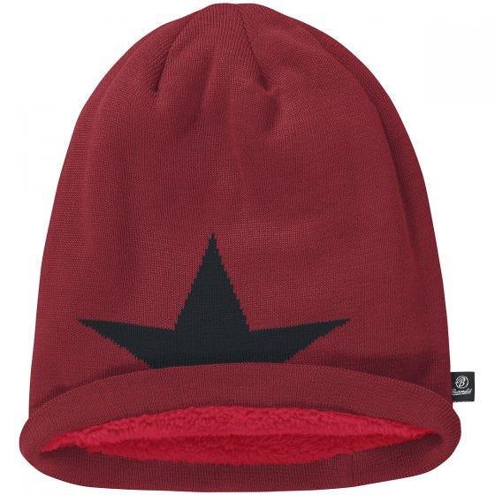 Brandit cappello beanie con stella in bordeaux