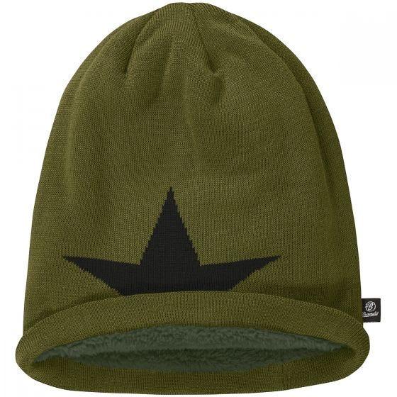 Brandit cappello beanie con stella in verde oliva