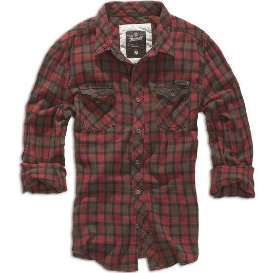 Brandit camicia a quadri Duncan in rosso / marrone