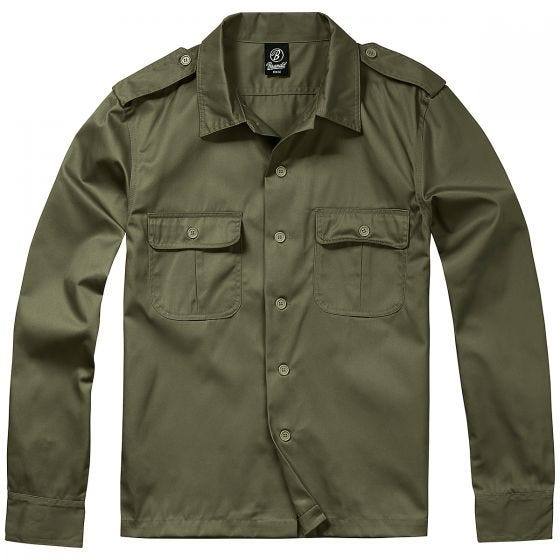 Brandit camicia US a maniche lunghe in verde oliva