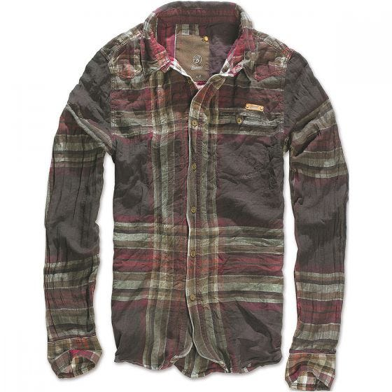 Brandit camicia Raven Wire a quadri in choco/rosso