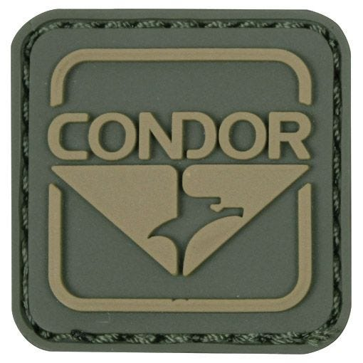 Condor toppa con emblema in PVC in verde/marrone