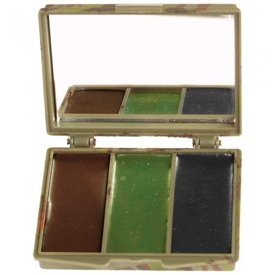 Mil-Tec kit trucco mimetico viso 3 colori con specchio in Woodland