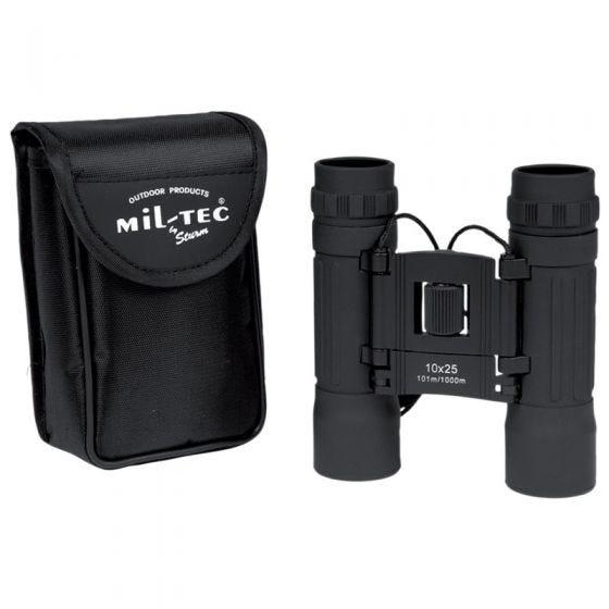 Mil-Tec binocolo pieghevole 10x25 in nero