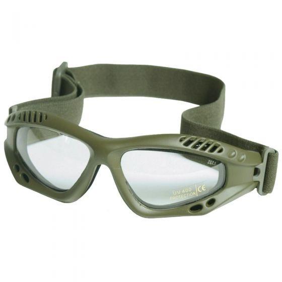 Mil-Tec occhialini protettivi Commando Air Pro a lenti chiare e struttura in verde oliva