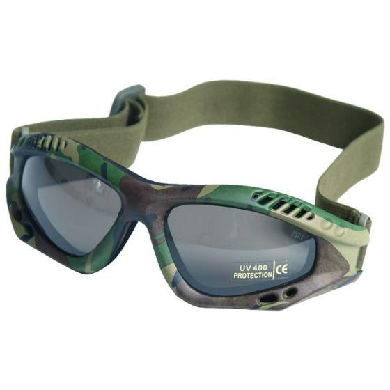 Mil-Tec occhialini protettivi Commando Air Pro a lenti fumé e struttura in Woodland