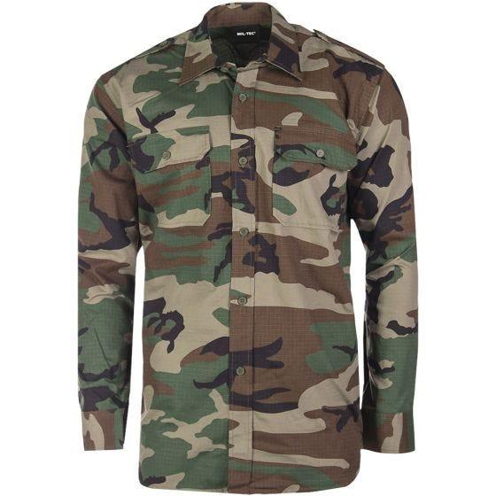 Mil-Tec camicia a maniche lunghe RipStop in Woodland
