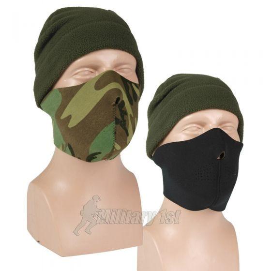 Mil-Tec semimaschera facciale double face in neoprene in nero / Woodland
