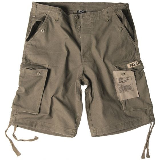 Mil-Tec shorts cargo da paracadutista prelavati in verde oliva