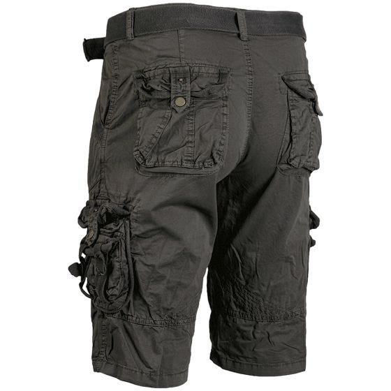 Mil-Tec pantaloni corti survival stile vintage prelavati in nero