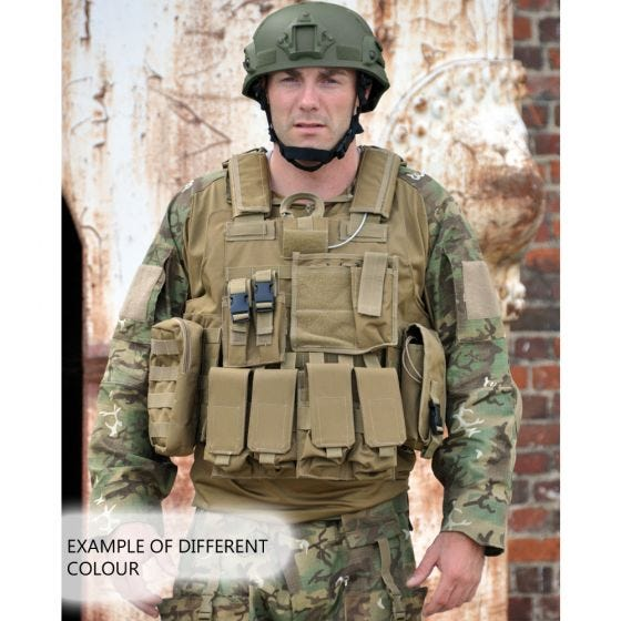 Mil-Tec gilet Combat MOLLE M.Release in nero