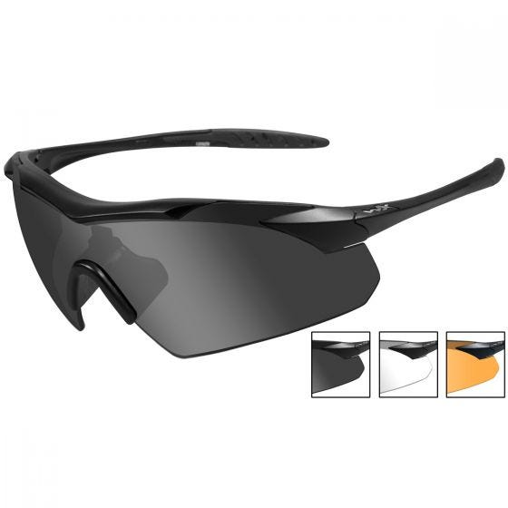 Wiley X occhiali Vapor con lenti fumé grigie + lenti trasparenti + lenti ruggine chiaro e struttura in nero opaco