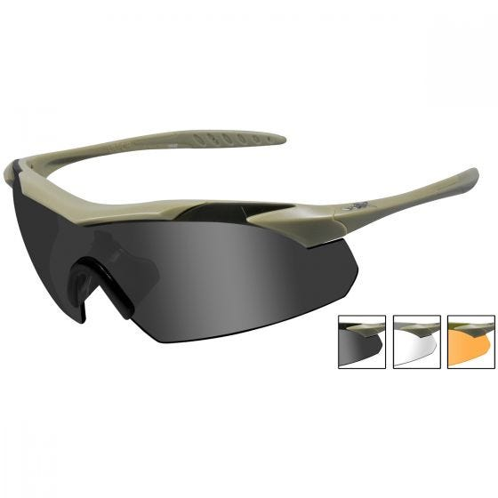 Wiley X occhiali Vapor con lenti fumé + lenti trasparenti + lenti ruggine chiaro e struttura in Tan opaco