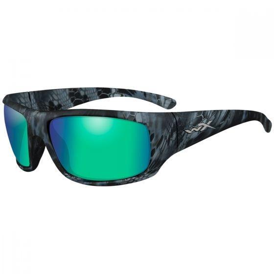 Wiley X occhiali WX Omega con lenti polarizzate Emerald a specchio e struttura in Kryptek Neptune