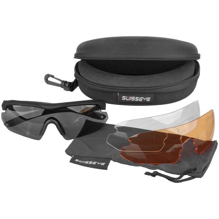 Swiss Eye occhiali da sole Nighthawk - lenti fumo + arancioni + trasparenti / montatura in gomma nera