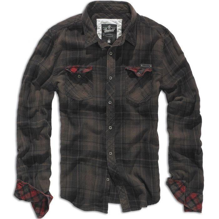 Brandit camicia a quadri Duncan in marrone / nero