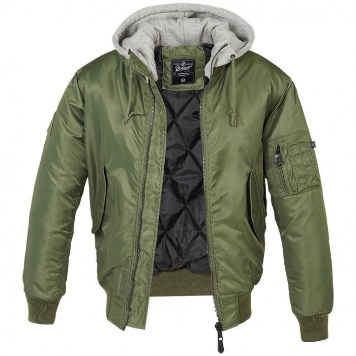 Brandit MA1 Sweat Hooded Jacket Olive/Grey