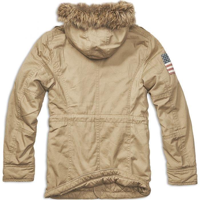 Brandit giacca Vintage Explorer Stars & Stripes in Camel