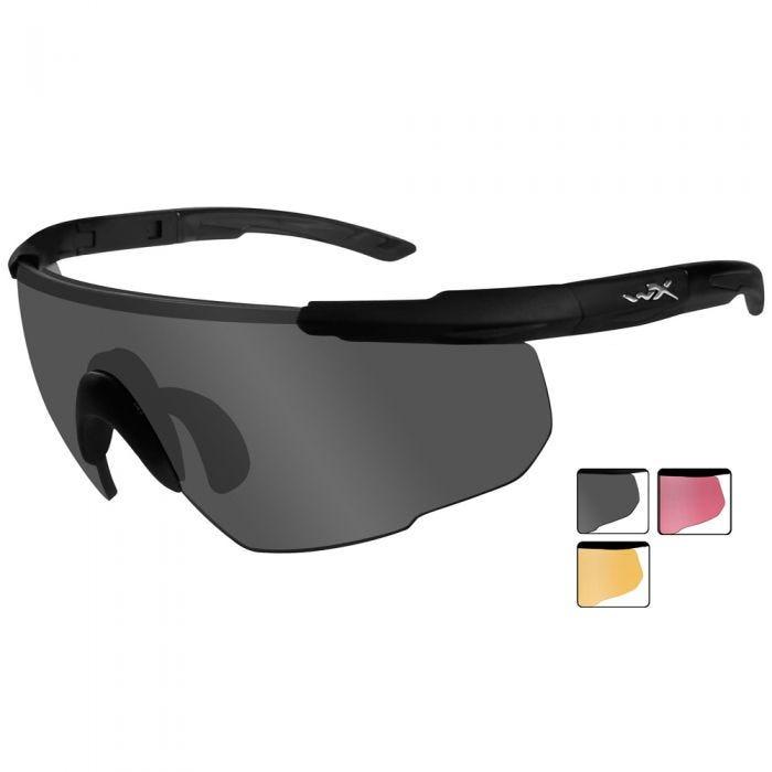 Wiley X occhiali Saber Advanced lenti fumé grigie + lenti ruggine chiaro + lenti Vermillion, in nero opaco