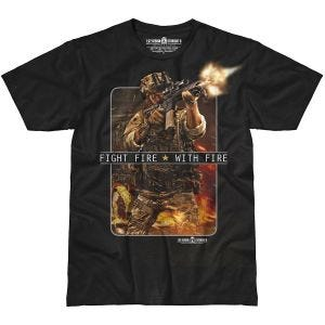 7.62 Design T-Shirt Fight Fire With Fire in nero