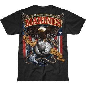 7.62 Design T-Shirt USMC Fighting Eagle Battlespace in nero