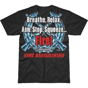 7.62 Design T-Shirt USMC Marksmanship Battlespace in nero