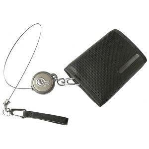 Civilian portafoglio Rewind Duo con cavo di sicurezza retrattile in nero