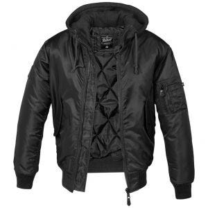 Brandit giacca MA1 con cappuccio felpato in nero