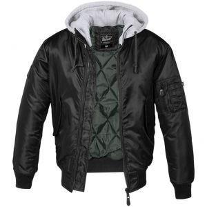 Brandit giacca MA1 con cappuccio felpato in nero/grigio