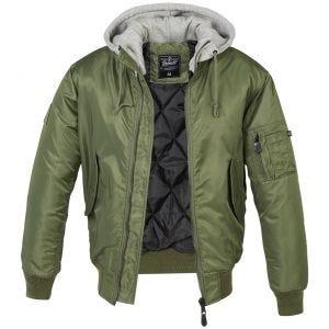 Brandit giacca MA1 con cappuccio felpato in verde oliva/grigio