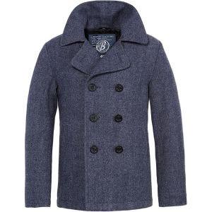 Brandit cappotto Caban in Denim blu a spina di pesce