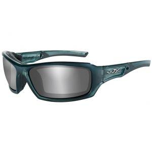 Wiley X occhiali WX Echo con lenti a specchio fumé grigie argento / struttura in acciaio blu fumé