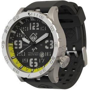 Hazard 4 orologio Heavy Water Diver Titanium Tritium cinturino nero quadrante giallo GMT con grafica verde/giallo