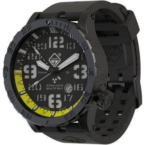 Hazard 4 orologio Heavy Water Diver Titanium Tritium cinturino nero quadrante Nightwatch giallo GMT con grafica verde/giallo