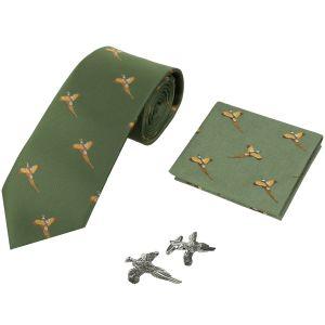 Jack Pyke confezione regalo cravatta, fazzoletto e gemelli fantasia fagiano in verde