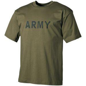 MFH T-shirt in verde oliva con stampa militare