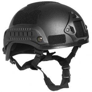 """Mil-Tec elmetto militare US """"M.I.C.H. 2001"""" in nero con binari laterali"""