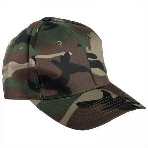 Mil-Tec cappellino da baseball con fascia in plastica in Woodland