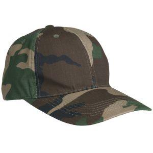 Mil-Tec cappellino da baseball con fibbia in metallo in Ripstop Woodland