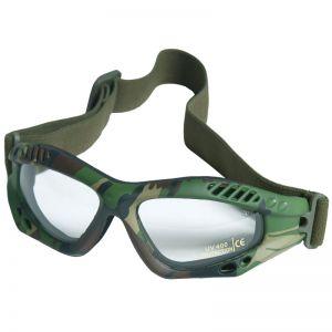 Mil-Tec occhialini protettivi Commando Air Pro a lenti chiare e struttura in Woodland