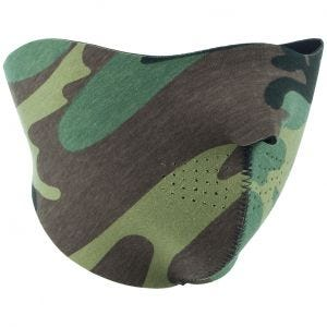 Mil-Tec semimaschera facciale double face in neoprene in nero / Woodland