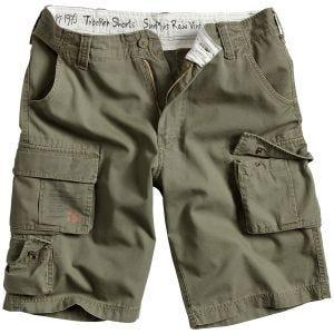 Surplus pantaloni corti Trooper in verde oliva effetto slavato