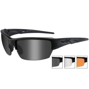 Wiley X occhiali Saint con lenti fumé grigie + lenti trasparenti + lenti ruggine chiaro e struttura in nero opaco