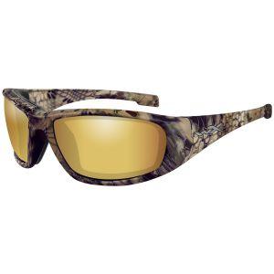 Wiley X occhiali WX Boss con lenti polarizzate a specchio Venice Gold e struttura in Kryptek Highlander