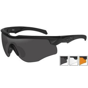 Wiley X occhiali Rogue Comm con lenti fumé grigie + lenti trasparenti + lenti ruggine chiaro e struttura in nero opaco