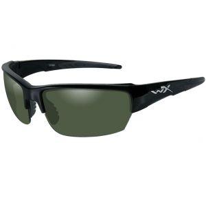 Wiley X occhiali WX Saint con lenti fumé verdi polarizzate e struttura in nero lucido