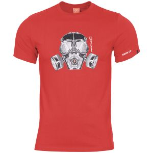 Pentagon T-shirt Ageron Gas Mask in Lava Red